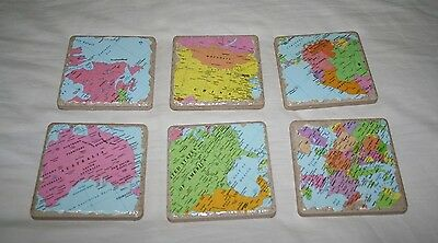 MAP GLOBE WORLD Drink Coasters Set of 6 Homemade Chic DIY TILE Bar Gifts Present