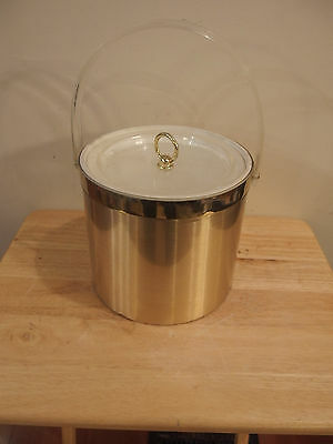 Vtg Gold Ice Bucket Clear Handle White Insert Georges Briard Hollywood Regency