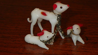Lot of 3 Vintage Blown Glass Dogs Figurines Art Glass Murano 1960's