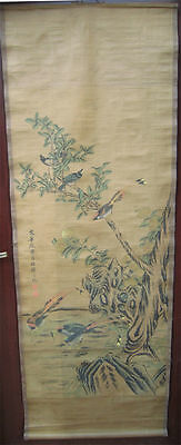 Chinese Collectable old scroll painting birds and flowers *free shipping RN55