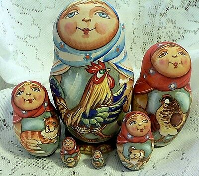 Art Matryoshka Hand Painted Russian Nesting Dolls Set of 6 Rooster Sergiev Posad