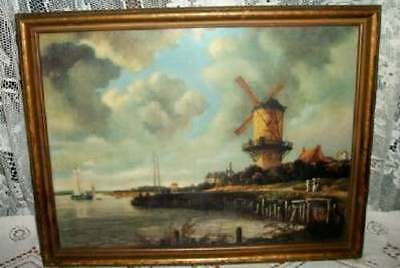 20s CHIC VINTAGE DUTCH WINDMILL PRINT PICTURE CHIPPY SHABBY GREAT COLOR COTTAGE