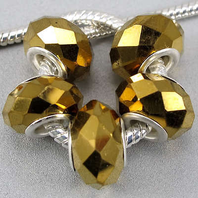 5pc Gold AB Crystal Glass Beads Fit DIY Charms Silver Bracelet Necklace Hot