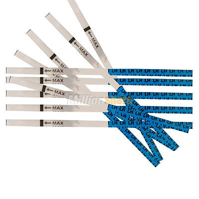 New Lot50 2.5mm Strip Private Early LH Ovulation Pregnancy Test Tests Blue