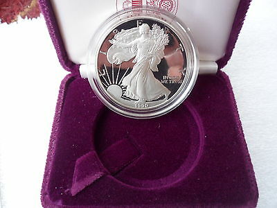 "1990 ""S"" Proof American Silver Eagle W/C.O.A.& Box  Ships Today !!!!"