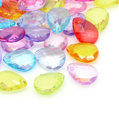 100PCs Hot Sell Acrylic Crystal Charm Pendants Faceted Drop Mixed 17x13mm