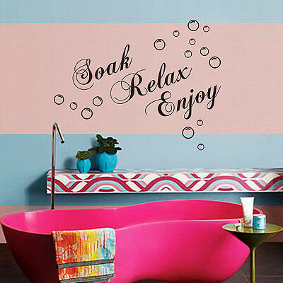 New Black Letters Soak Relax Enjoy Vinyl Decal Home Mural  Wall Decor Sticker