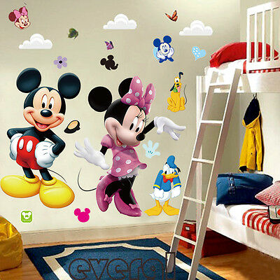 Mickey Mouse Minnie Vinyl Mural Wall Sticker Decals Kids Nursery Room Decor xab