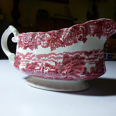 woods ware English scenery gravy boat  wo base. pink with pink stamp. Item #GRN