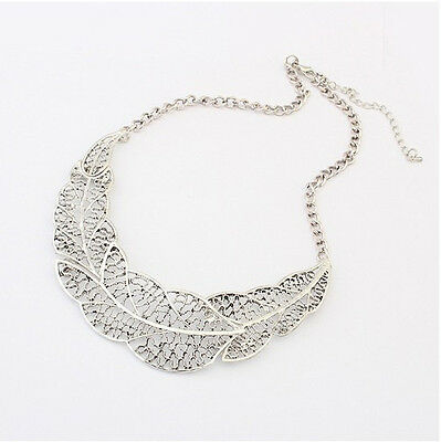 New Fashion Retro Charm Silver Hollow Out Leaves Collar Bib Pandent Necklace