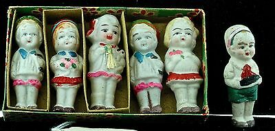 "6- 2"" TALL BISQUE DOLLS VINTAGE FROM JAPAN 5 IN ORIGINAL BOX EXCELLANT CONDITION"