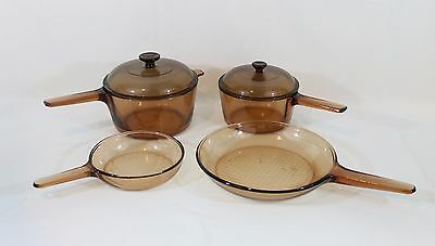 6 piece CORNING WARE Pyrex Visions Amber Vision Cookware Set Sauce Pans Skillets