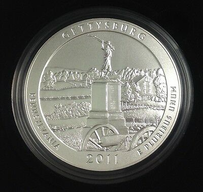 2011 America The Beautiful 5 oz. Silver Gettysburg National Military Park