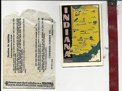 Vintage water decal Indiana the Hoosier state Lindgren -Turner Co. FREE SHIPPING