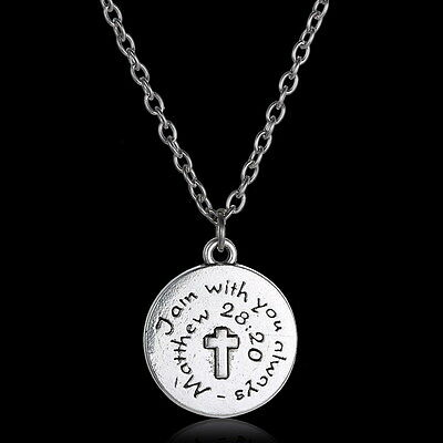 I Am With You Always Matthew Bible Scripture God Charm Christian Necklace gifts
