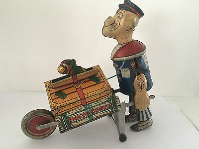 US Made Marx Popeye Express Baggage Carrier Tin Wind Up Toy W/ Parrot