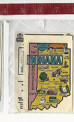 Vintage IMPKO water transfer decal Indiana the  Hoosier State FREE SHIPPING