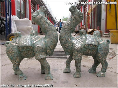 Chinese Folk classical Bronze silver-gild carved desert camel llama Statue pair