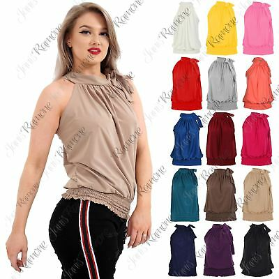 New Ladies Womens Plain Pleated Sleeveless Sexy Top Ruched Halter Neck Party Top