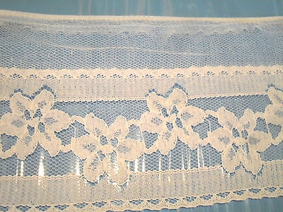 """OLDER* LOT 2  WHITE NETTED LACE TRIM~ 4 1/4""""  WIDE~ ONE YARD EACH PIECE"""