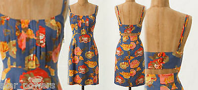 $158 4 6 Anthropologie Peony Slip Dress Small Blue Motif Cutout Back Cocktail