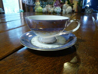 VTG INARCO JAPAN Blue Lusterware Tea Cup and Saucer Gold Leaf Filigree Scroll