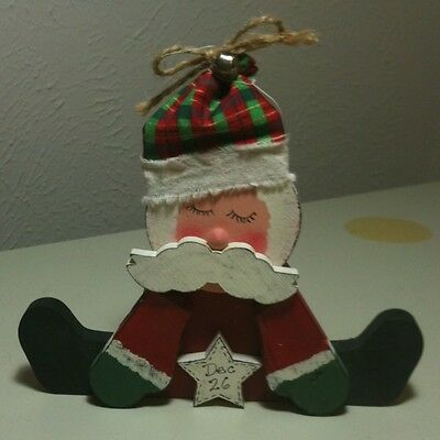Folk Art Primitive Painted Wooden Santa Sleeping Day After Christmas Super Cute!