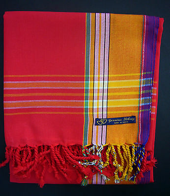 NEW Kikoy Kikoi Red Gold Unisex African Cotton Sarong Throw Scarf Kenya Swimwear