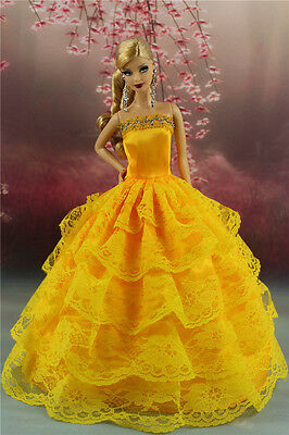 Yellow Fashion Party Dress/Wedding Clothes/Gown For Barbie Doll S189P5