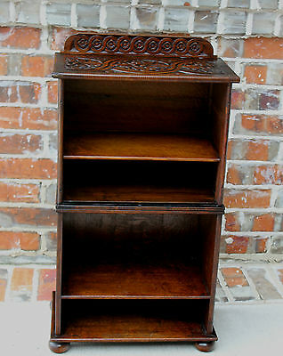 Antique English PETITE Highly Carved Dark Oak Bookcase Book Stand Magazine Rack