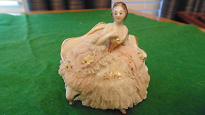 Dresden Laced Porcelain Lady Sitting Figurine