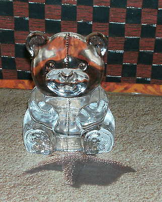 Nice ~ Large Clear Glass Teddy Bear Paperweight / Candle Holder ~ unique
