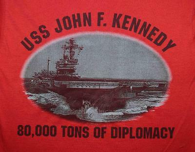 "USS John F. Kennedy CV-67 JFK ""80,000 Tons of Diplomacy"" Moral Crew Shirt"