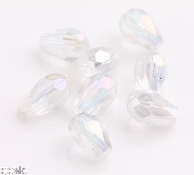 New 100Pcs White Glass Crystal Charms Findings Teardrop Spacer Loose Beads 6x4mm