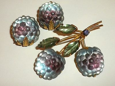AWESOME - 1950's Vintage AUSTRIA Glass FRUIT Pin & Earrings SET of BLUEBERRIES
