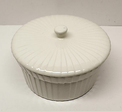 Mid Century Stangl Pottery Cookrite Ivory Souffle Baking Dish with Lid