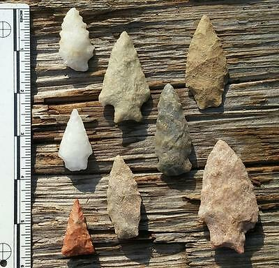 grouping of 8 points Indian artifacts Quartz Northern Neck Virginia arrowheads