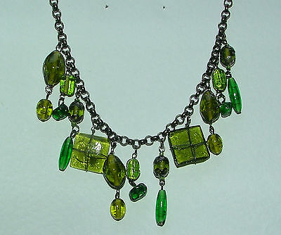 OLIVE & GREEN CLUSTER GLASS BEAD DANGLY NECKLACE BLACK PLATED METAL DETAIL