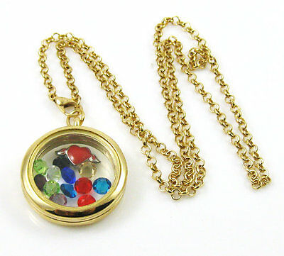 Golden Living Floating charms Memory Locket Necklace +13PCS charms bead L24