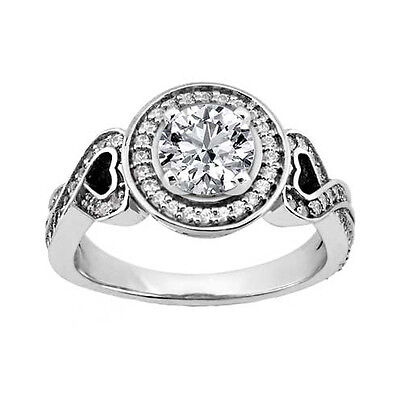 1.73 ct. TW Round Diamond Engagement Ring in Heart-shaped Mounting in Platinum