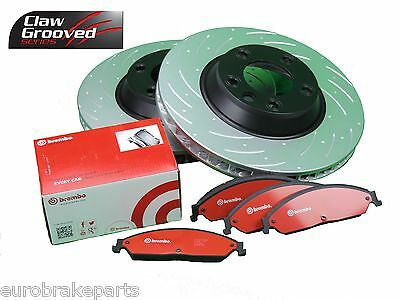 Drilled Slotted Brake Rotors Pair & Brembo H/d Pads Commodore Vt Vx Vy Vz Front