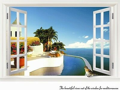 Home Decor Art Vinyl  Fake Window New Beach Mural Wall Decals Removable Stickers