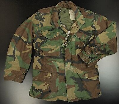 US GI Army Camouflage Field Jacket S Reg Military Combat Coat Woodland Hunting