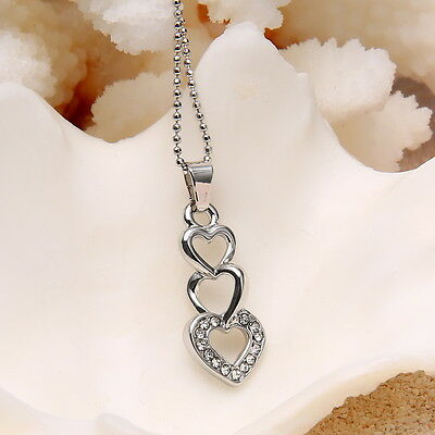 2015  Silver Heart Austrian Stone Crystal Necklace Pendant lady Wedding Chain