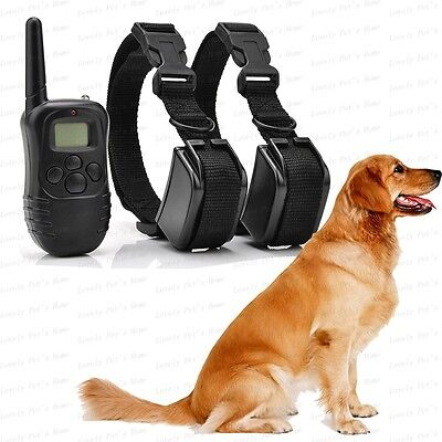 New LCD 100Levels Rechargeable No Bark Shock Remote Pet Dog Training Collar 2Dog