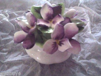 Royal Albert England Flower of the month bone china VIOLETS Hand molded flowers