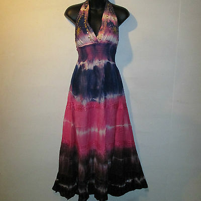 Dress Fits M L XL SEXY Sequin Gold Embroidery Empire Tiered Pink Blue Purple 100