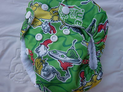 Newborn Preemie Dr Suess Green Eggs&Ham AIO Cloth Diaper Nappy PUL EB987