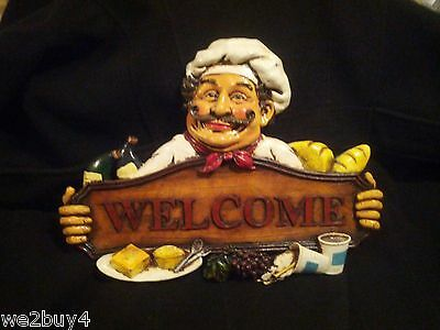 "FAT CHEF WELCOME 3D WALL ART PLAQUE~SIGN~GRAPES BREAD WINE~ NEW 15"" X 11"""