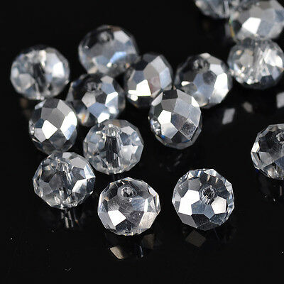 DIY Jewelry Faceted 30pcs half silver #5040 6x8mm Roundelle Crystal Beads!